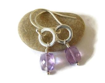 Ametrine Earrings, Dainty Purple Earrings, Ametrine Jewelry, Stone Silver Purple, November Birthstone, February Birthstone, Pastel Earrings