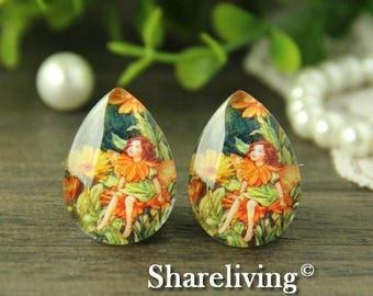 SALE - 30% OFF 4pcs 18x25mm Handmade Photo Teardrop Glass Cabs Cabochons (Flower Fairy) -- BCH962B