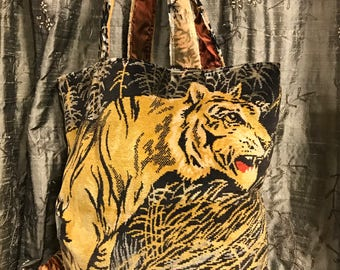 Tiger Tote/Tapestry Bag/Vintage Tapestry Tote/Tiger Tapestry Bag/