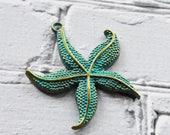 Verdigris Starfish Pendant- Antique Brass Ocean Blue Patina Pendant- Starfish Jewelry Supply - 1
