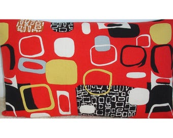 "16x12 Mid Century Bolster Pillow Cover Sanderson 1950s 12x16 Zippered Contemporary Modern Festival Red Black Yellow 16""x12"" Oblong Cushion"