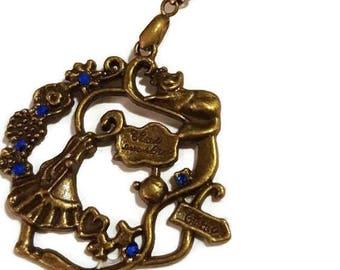 Alice in Wonderland Bronze Necklace - blue