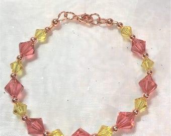 Padparadscha & Sunflower Crystal Copper Bracelet #488