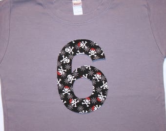 Boys 6th Birthday Shirt with Pirate Number 6 - short sleeve gray black red white