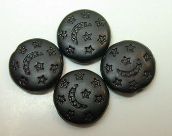 Vintage Glass Beads German BLACK MOON STARS 13mm pkg4 gl723