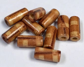 Vintage WOOD BEADS Tubes Painted 12x5mm pkg10 wd1