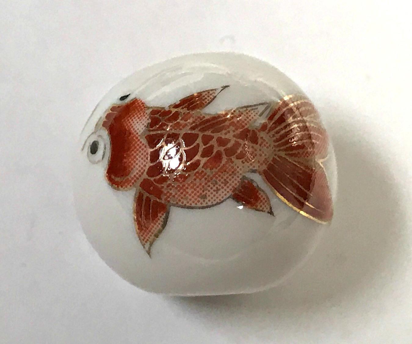 Vintage porcelain koi fish bead white red 25mm pkg1 por47 for Koi fish beads