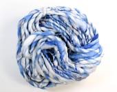 skyward .. hand spun art yarn, wool yarn, handspun, soft rainbow knitting wool, weaving, crochet supply