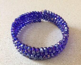 Cobalt blue AB crystal bead memory wire bracelet