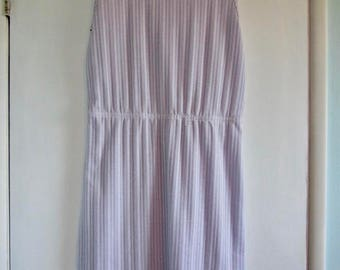 Vintage Light Purple Striped Shift Dress with Elastic Waist