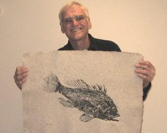 ORIGINAL Black Sea Bass Salt Water GYOTAKU Beach House fishing Art ( Fish Rubbing ) on real hand made Paper