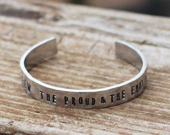 The Few, The Proud, The Emotional Bracelet, Hand Stamped Cuff, Skeleton Clique