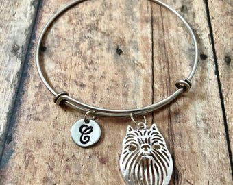 Brussels Griffon dog initial bangle - Brussels Griffon jewelry, dog breed jewelry, gift for Brussels griffon owner, Griffon Bruxellois