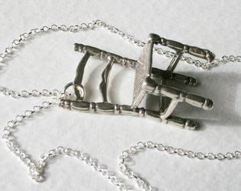 Sterling Silver Tiny Storytelling Wishing Chair Charm Necklace