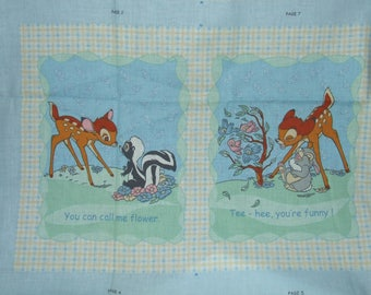 Disney Bambi Fabric Story Book Quilt Panel Cut and Sew  Discontinued Out of Production * Hard To Find * RARE *