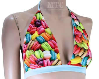 Neon Rainbow Macaron Cookie Neck Tied Halter Top - All Sizes - MTCoffinz - Ready to Ship