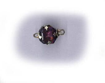 ANTIQUE CLASP a small classic vintage czech clasp in AMETHYST purple, very dainty, silvertone one strand clasp angular shape