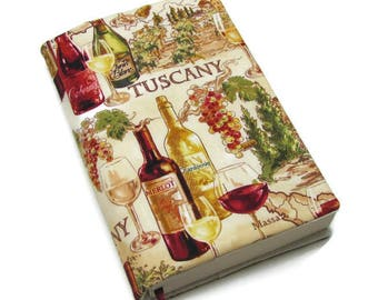 Book cover, TRADE SIZE paperback book cover,  book protector, cotton, padded cover, ribbon bookmark,  Tuscany Wine