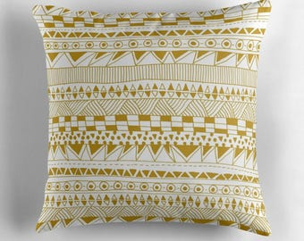 moderm geometric decorative pillow cover in gold and white- home decor- modern home- dorm room decor