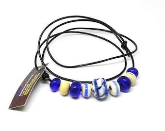 Handmade beads. Blue/ivory/white bead set /necklace/bracelet for vikings