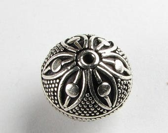 SHOP SALE Large Dotted Flower Round Bali Sterling Silver Focal Bead  with 14mm x 15mm (1 bead)