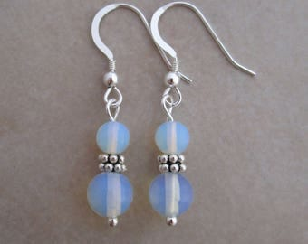 sea opal glass earrings sterling silver