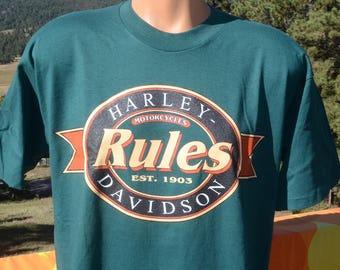 vintage 90s t-shirt HARLEY DAVIDSON rules motorcycle daytona bike week tee Medium Large holoubek