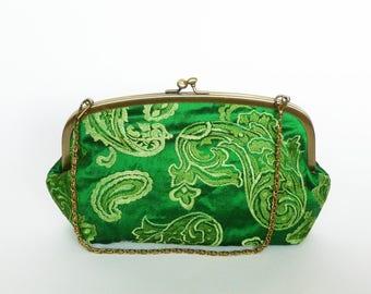 Handbag, Indian silk, green decorative embroidered design, evening purse