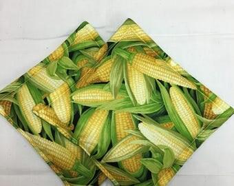 Corn Print Potholders Set of 2