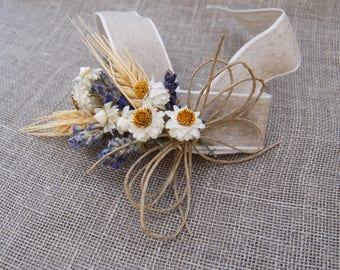 Bridal Wedding  Wrist or Pin On Corsage or Boutonniere of Lavender Wheat and Everlasting Daisy Dried Flowers