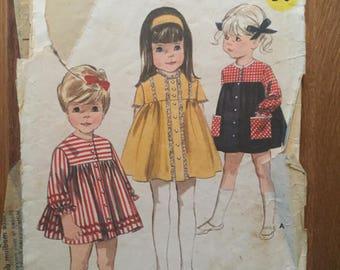 Great 1960's Butterick Girl's One-Piece Dress Pattern 3794 Sz 2, Bust 21 - NC - 60s Dress / Toddler Dress Pattern / Yoked Dress Pattern