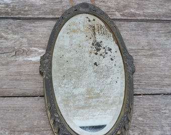 Reserved to Kristen T Art nouveau 1900/1910 French  regule or Bronze oval wall hanging mirror