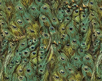 Peacock Feathers in Green, Fabric by David Textiles 100% Cotton - HALF YARD
