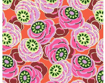 YARD - Amy Butler Fabric, Dream Weaver, Clouded Floral, Persimmon, cotton quilting fabric