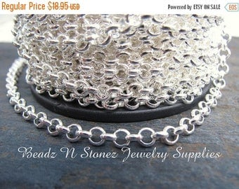 Summer Clearance Sale 5 Feet Quality Bright Silver Plated Rollo Belcher Chain - 3.9mm Links