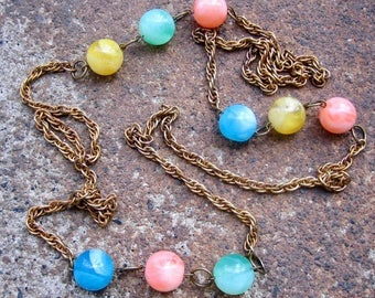 Eco-Friendly Statement Necklace - Celebration - Recycled Vintage Rope Chain and Swirled Beads in Aqua, Mint, Yellow and  Melon