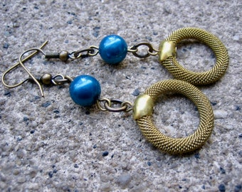 Eco-Friendly Unique Dangle Earrings - Soho Nights - Recycled Vintage Unusual Brass Mesh Hoop Beads and Deep Blue Glass Pearls