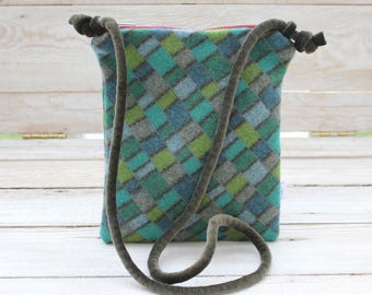 Cross Body Style Colorful Wool Purse in Green Olive and Light Blue