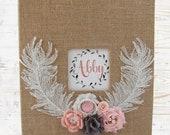 Feather Pink Boho Ready to Ship! Burlap Floral Garden Baby Memory Book, Vintage