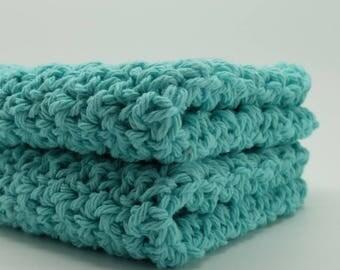 Turquoise Dish Cloths, Crochet Dishcloths, Cotton Wash Cloths, Bright Aqua Washcloths, Eco Friendly Cleaning, Cotton Spa Cloths