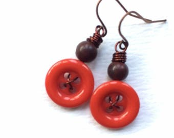 Christmas in July Sale Bright Orange and Brown Vintage Button Earrings