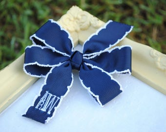 Monogrammed Bow - Baby Hair Bow - Small Personalized Hairbow - PICK COLOR - Embroidered Hair Clip - 3 Inch Bow - Baby Girl Bow - BTS Hairbow