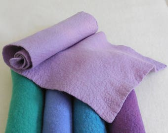 Wool Felt / 100% Merino Wool / lavender / Choice of felted sheets or prefelt sheets / hand dyed and felted