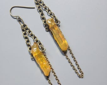 mystic crystal quartz earrings/raw crystals/dangle earrings/ready to ship