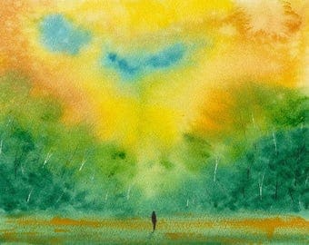 The Edge of Field and Forest ORIGINAL WATERCOLOR painting