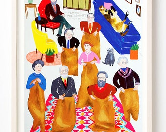 Art, Humor, Philosopher, Sack Race, Poster, Animals, Quirky, Love, Quirky, Famous Philosophers on Their Day Off- Fine Art Print