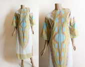 Vintage 1970s Dress - Hippie Dashiki Style Maxi Dress - Ethnic African Indian Print - Pastel Blue and Yellow Cotton - Festival Dress - Small