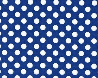Sale Fabric, Spot on Polka Dot fabric, Quilt fabric, Cotton Fabric by the Yard, White and Navy fabric, Robert Kaufman, Choose your cut