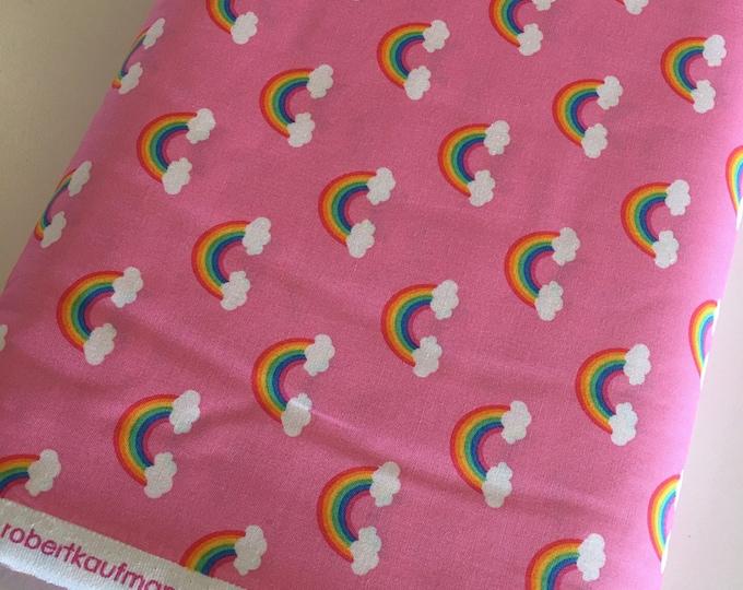Rainbow fabric, Girls Nursery Decor, Pink Quilt, Retro Style Fabric, Robert Kaufman, Rainbow in Pink, Choose your cut