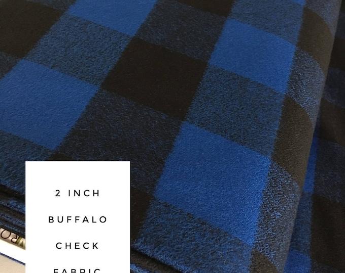 Buffalo Plaid, 2 inch check, Mammoth Flannel fabric, Blue Black Plaid, Flannel by the yard, Apparel fabric, Flannel in Blue, Black